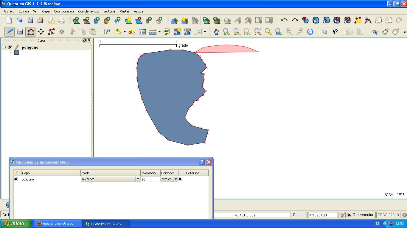 Digitalización de polígonos con autoensamblado, evitando intersección, en QGIS