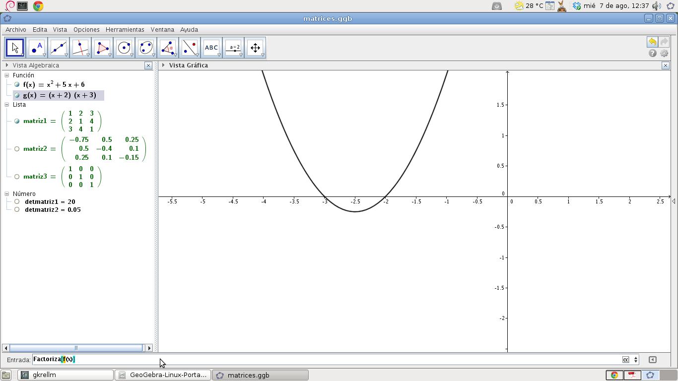 Operaciones con matrices, polinomios y números en GeoGebra   El Blog ...