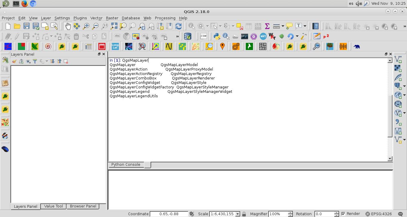 Uso de la consola integrada de IPython en QGIS (IPython console
